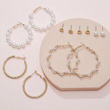 6pairs Faux Pearl Decor Earrings