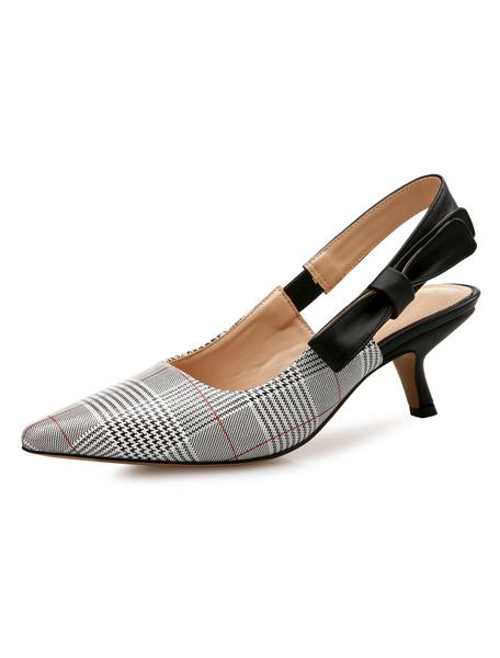 Milanoo Kitten Heel Pumps Grey Pointed Toe Bow Slingbacks Pumps For Women