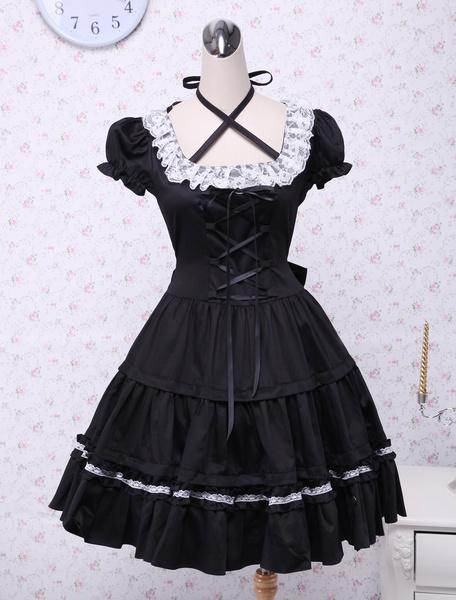 Milanoo Algodon Negro Lolita OP Vestido Cortas Mangas con Encaje y Blanco Encaje