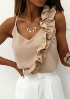 Ruffled V-Neck Camisole without Necklace - Apricot