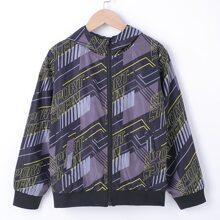 Winddichte Jacke mit Buchstaben Grafik, Reissverschluss und Kapuze
