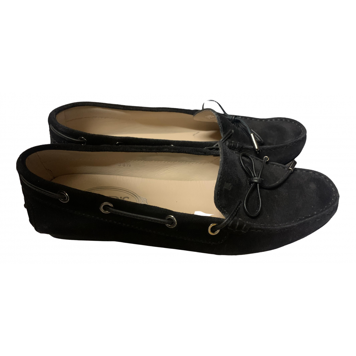 Tod's N Black Leather Flats for Women 39.5 EU
