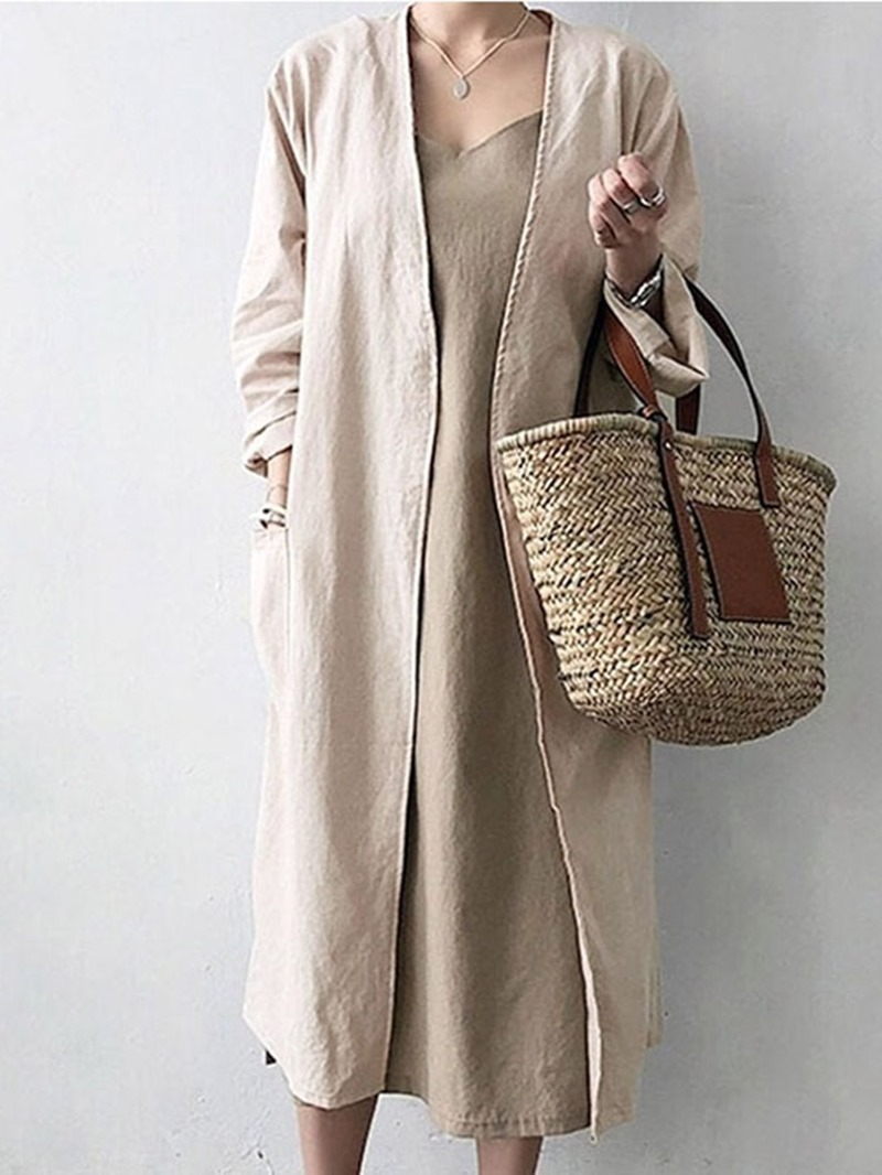 Ericdress Lace-Up Pocket Long Straight Regular Trench Coat