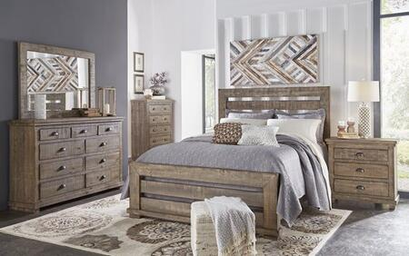 Willow P635-QBDMCN 5-Piece Bedroom Set with Queen Bed  Dresser  Mirror  Chest and Nightstand in Weathered