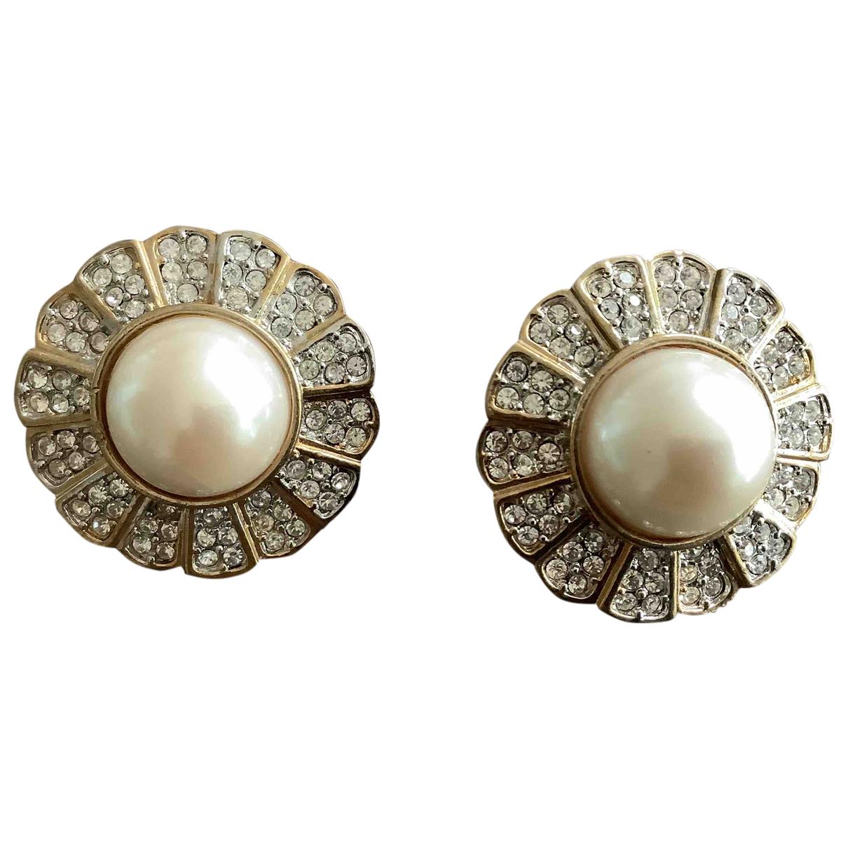 - Boucles doreilles Motifs Floraux pour femme en perle - dore