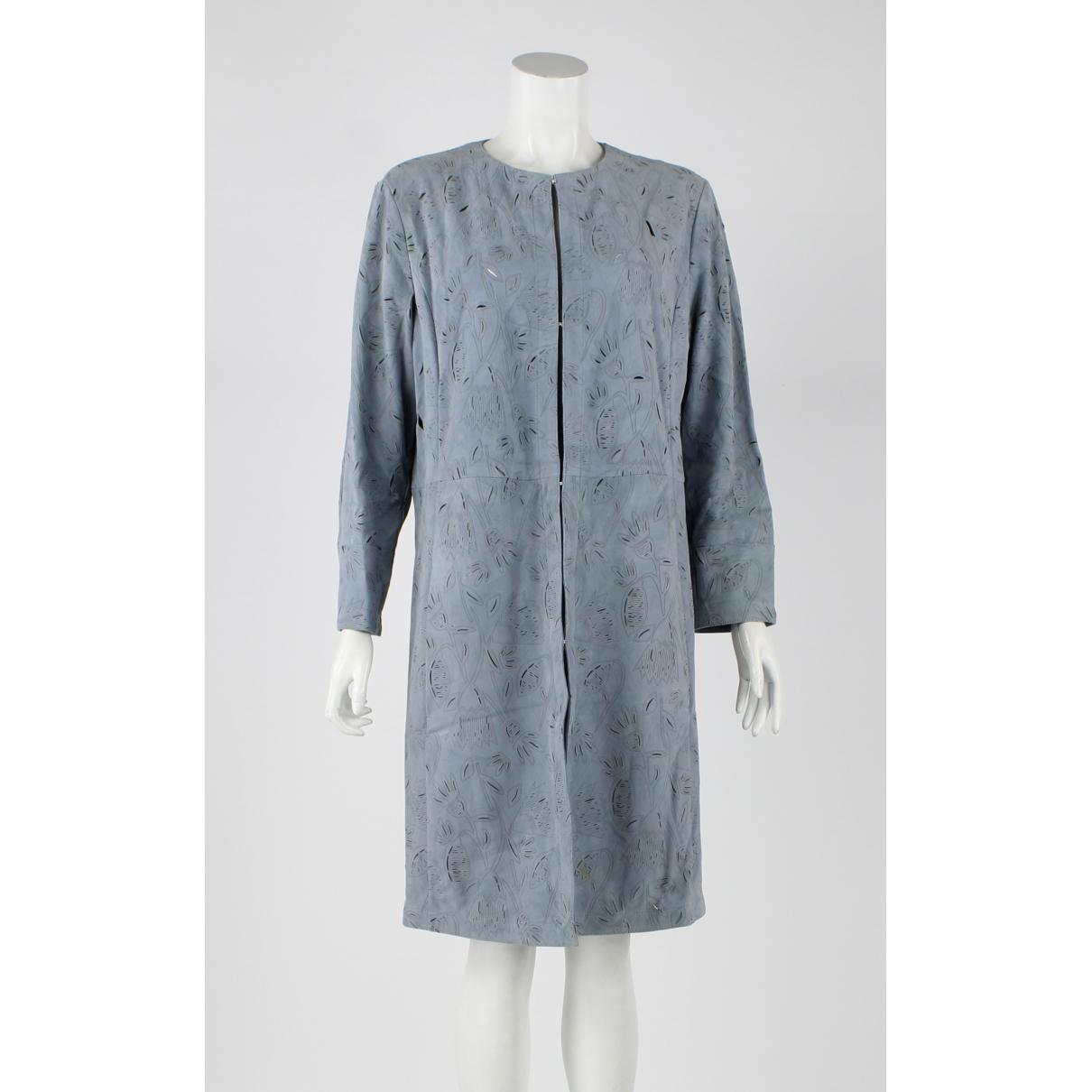 Drome - Manteau   pour femme en suede - bleu