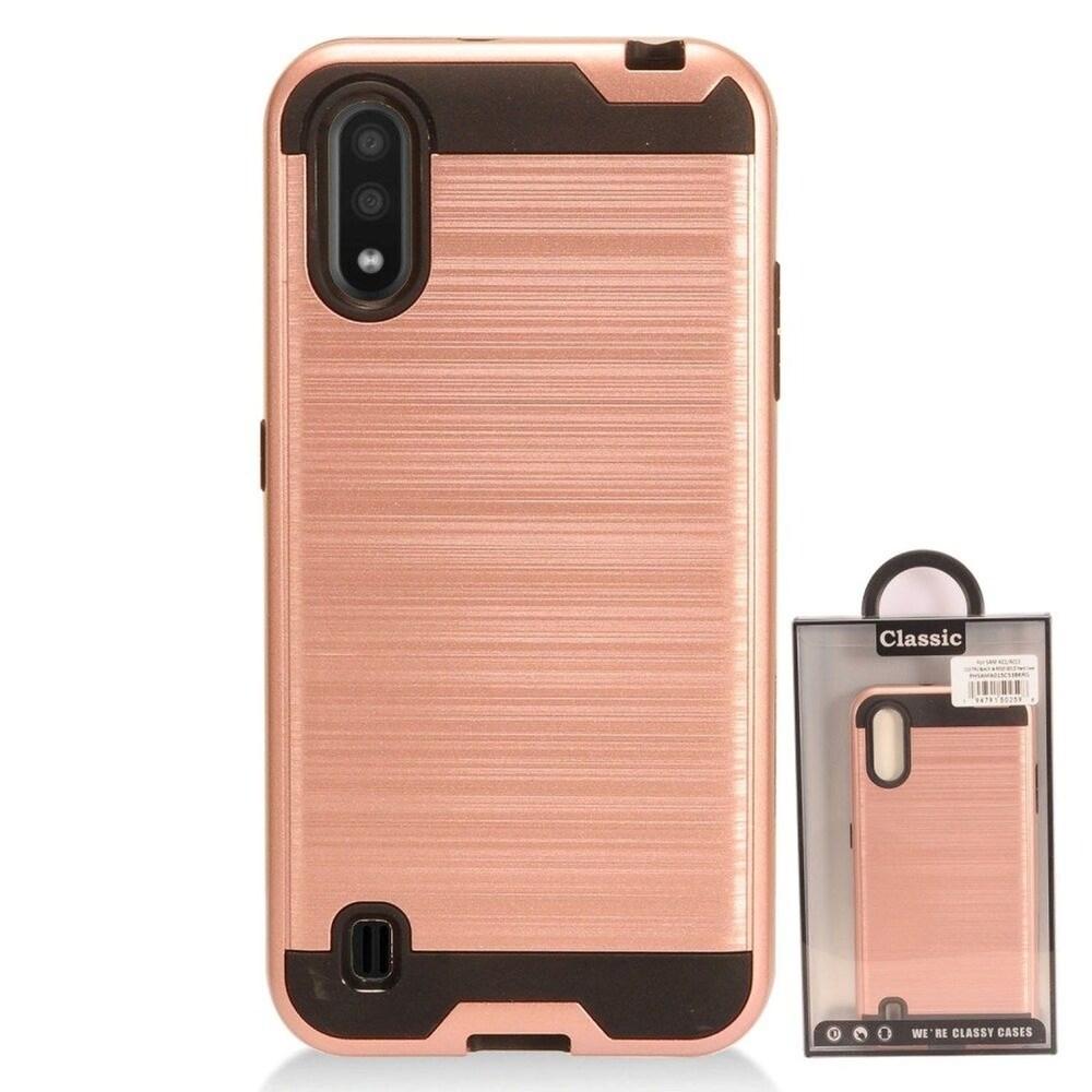 Insten Hard Hybrid Brushed TPU Case For Samsung Galaxy A01 - Rose Gold/Black (Gold)