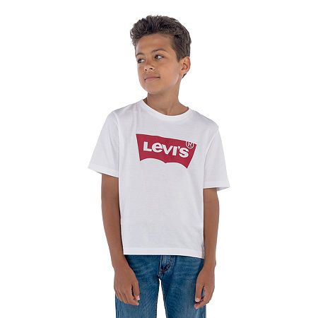 Levi's Batwing Big Boys Crew Neck Short Sleeve Graphic T-Shirt, Medium , White