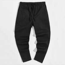 Men Drawstring Waist Solid Pants