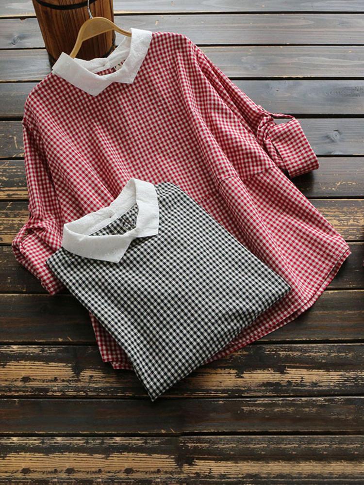 Women Casual Plaid Button Back Long Sleeve Blouse