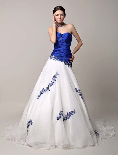 Milanoo Blue Wedding Dress Lace Beading Sweetheart A-line Chapel Train Tulle Bridal Gown Backless Princess Dress
