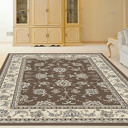 Pisa Kashan Traditional Oriental Area Rug, One Size , Brown