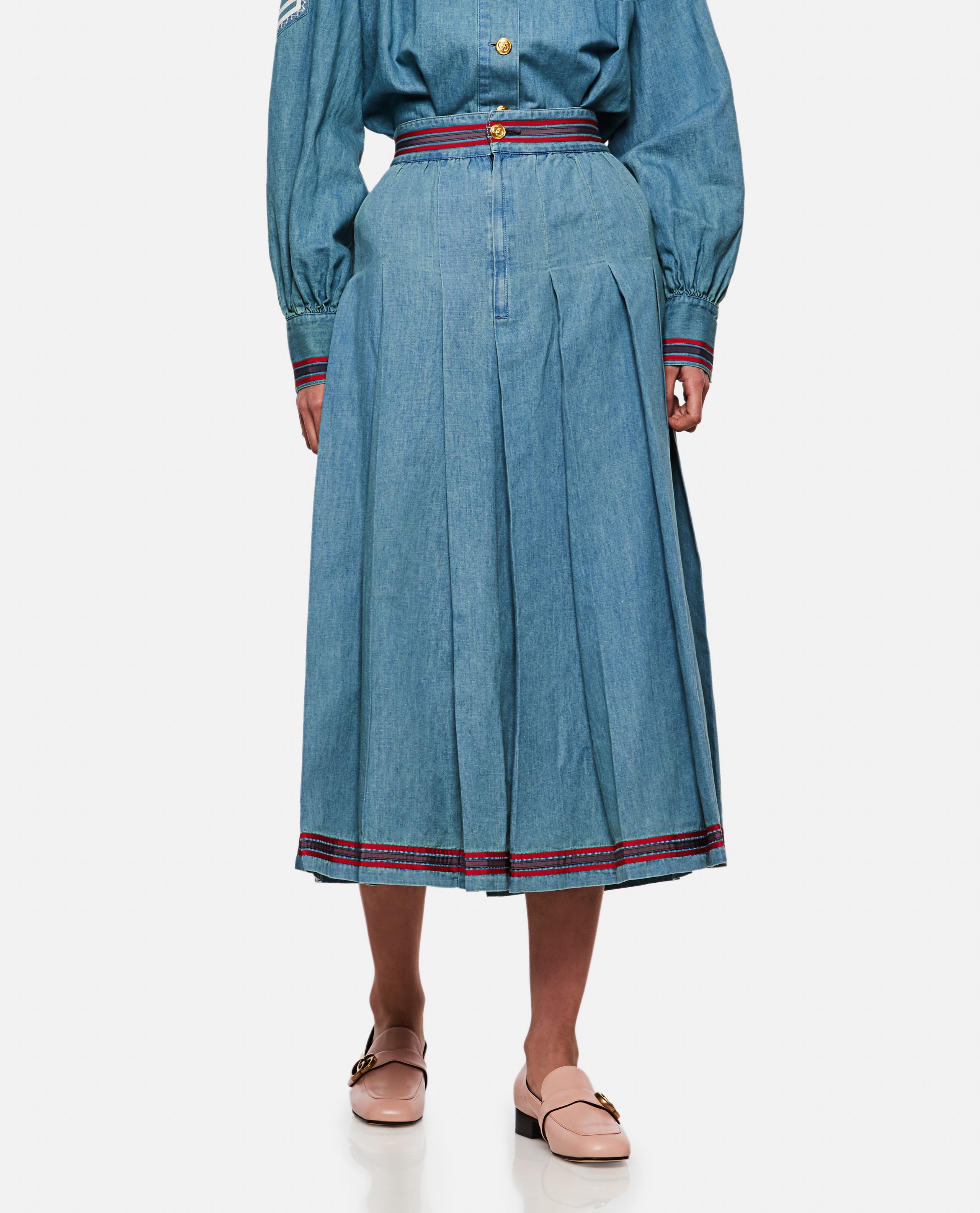 Distressed effect denim skirt