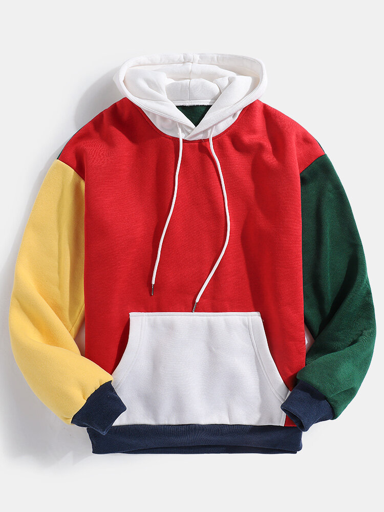 Mens Christmas Designer Contrast Color Splicing Casual Loose Kangaroo Pocket Hoodies