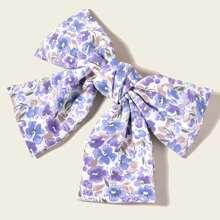 Flower Print Bow Decor Hair Clip