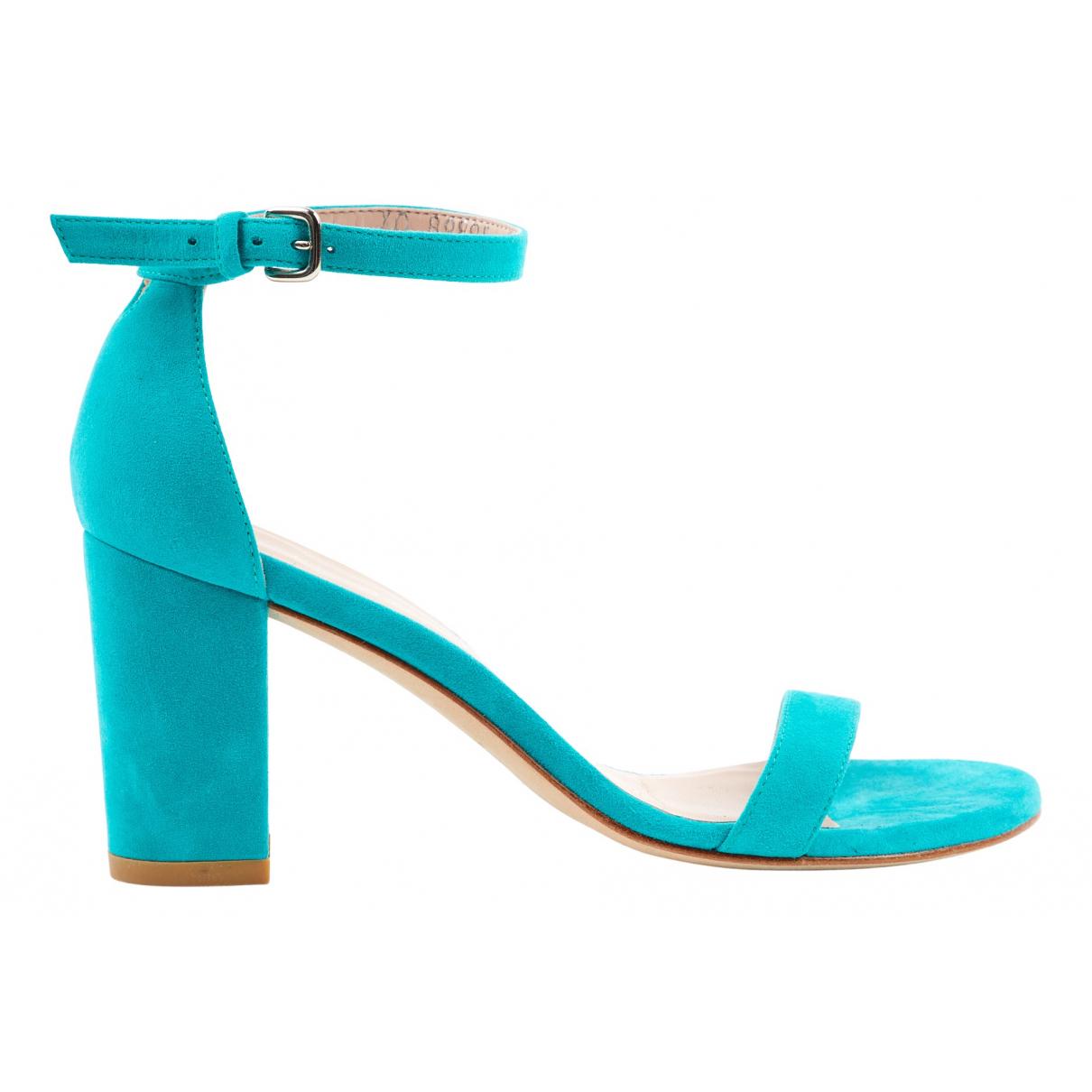 Stuart Weitzman N Turquoise Suede Sandals for Women 36 EU