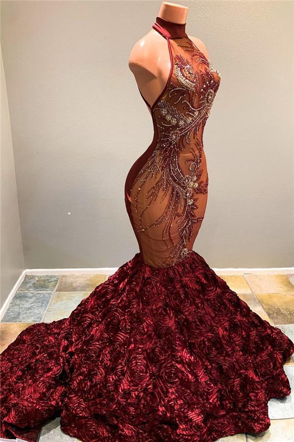 Halter sirena flores Borgoña vestidos de baile baratos | Vestido de noche de lujo de lentejuelas de perlas completas 2021 bc1634