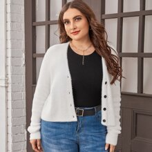Plus Solid Button Front Cardigan