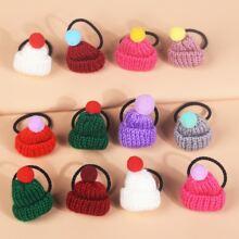 12 piezas goma de pelo de niñitas con diseño de sombrero de color al azar