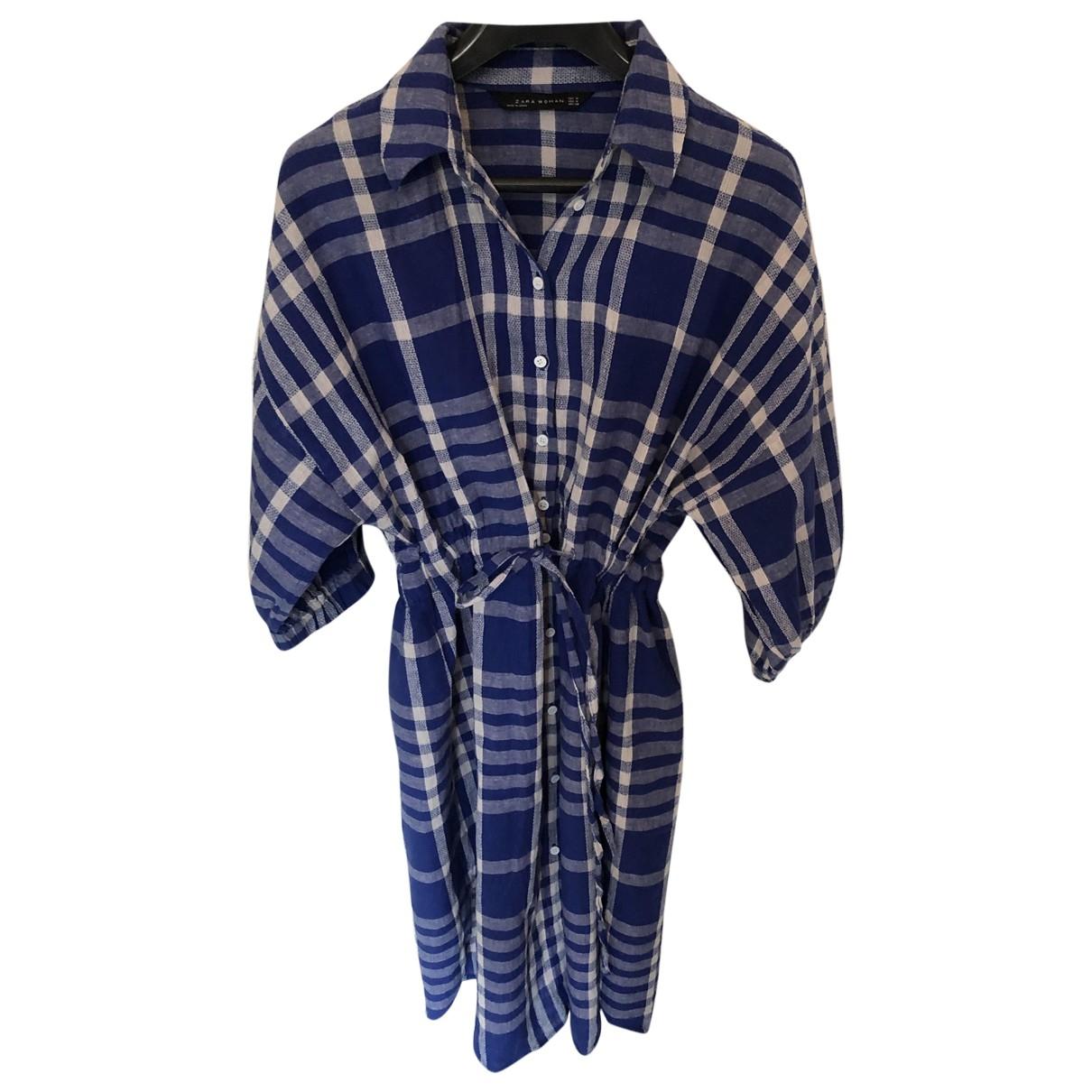 Zara - Robe   pour femme en lin - bleu