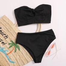 Bañador bikini bandeau de canale con nudo delantero