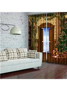 Wonderful Christmas Theme Polyester Living Room Custom 3D Curtain
