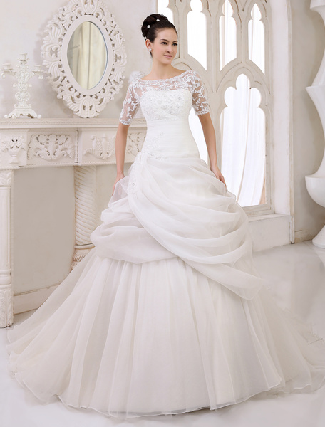 Milanoo Classic Chapel Train Ivory Bridal A-line Wedding Dress with Scoop Neck Pleated Organza