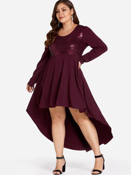 Yoins Plus Size Burgundy Sequins High-Low Dress