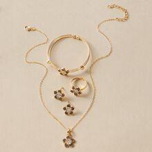 5pcs Rhinestone Decor Floral Decor Jewelry Set