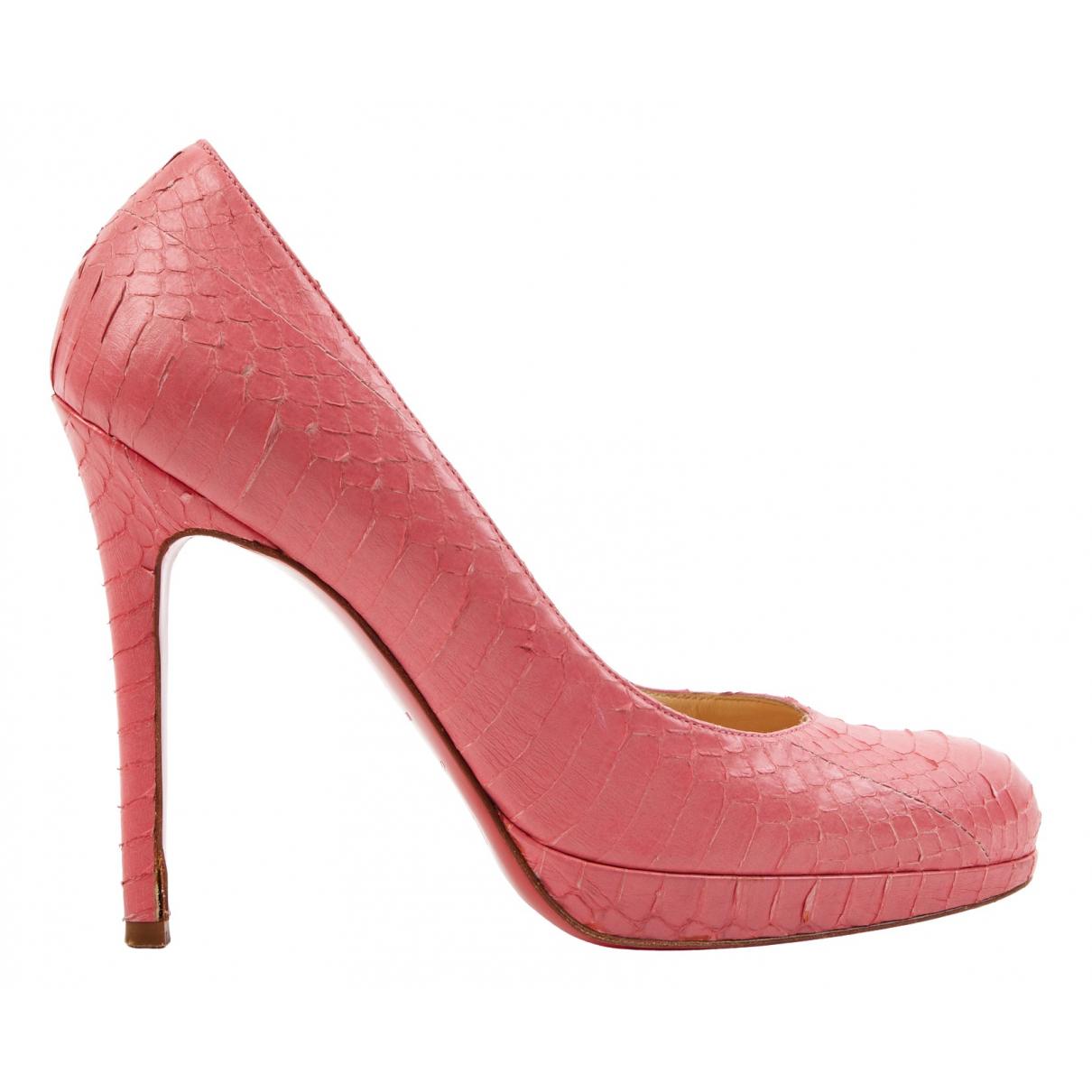 Christian Louboutin N Pink Python Heels for Women 37 EU