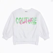 Girls Letter Graphic Contrast Lace Sweatshirt