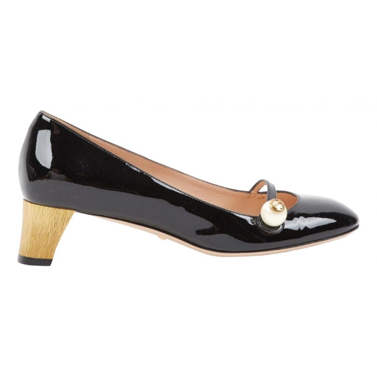 Gucci Arielle Black Patent leather Heels for Women 37.5 EU
