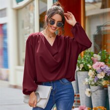 Draped Front Bishop Sleeve Blouse