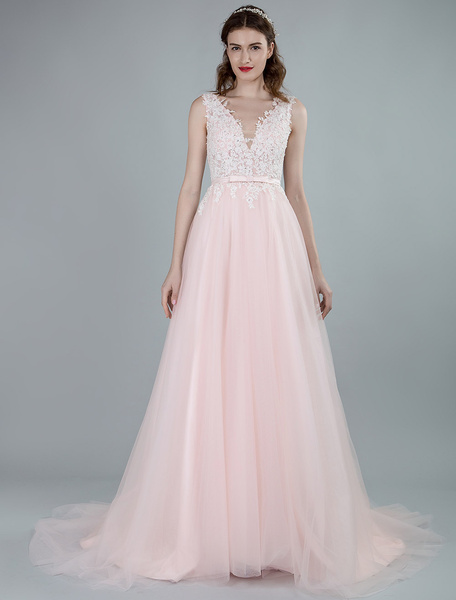 Milanoo Wedding Dresses A Line Sleeveless Bows V Neck Bridal Dresses With Court Train