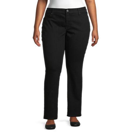St. John's Bay Womens Mid Rise Stretch Straight Leg Jean, 24w , Black