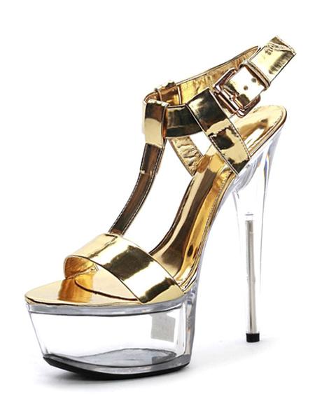 Milanoo Sandalias sexis negras Mujer PU Cuero Punta abierta Tipo T Hebilla Detalle Sandalias de tacon alto Zapatos