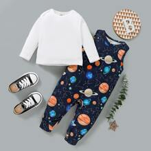Einfarbiges T-Shirt und Jumpsuit mit Planet Muster