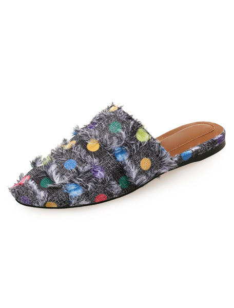 Milanoo Women Mules Shoes Black Round Toe Polka Dot Backless Flat Mules