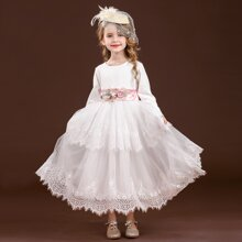 Toddler Girls Contrast Lace Flower Applique Tie Back Party Dress