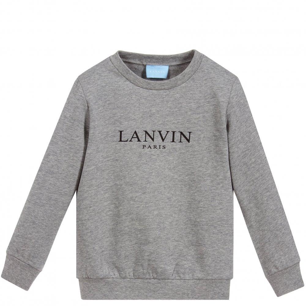 Lanvin Kids Logo Sweatshirt Grey Colour: GREY, Size: 10 YEARS