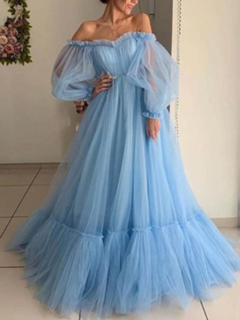 Ericdress Off Shoulder Long Sleeve Floor-Length Plain Lantern Sleeve Dress