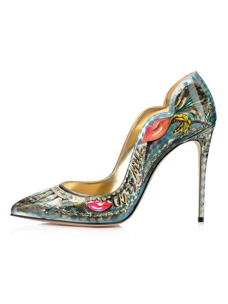 Milanoo Women High Heels Pointed Toe Artwork Stiletto Heel Green Slip-On Party Shoes