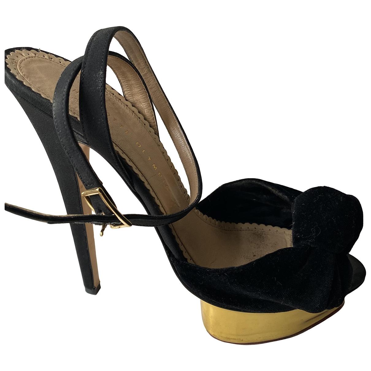 Charlotte Olympia - Sandales   pour femme en velours - noir