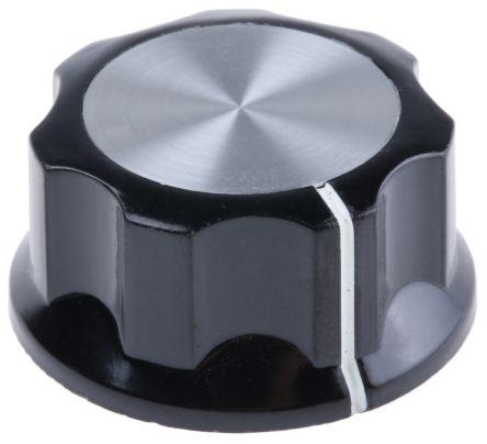 TE Connectivity Potentiometer Knob, Grub Screw Type, 33mm Knob Diameter, Black, 6.35mm Shaft