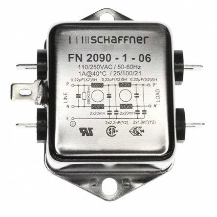 Schaffner , FN2090 1A 250 V ac 0 → 400Hz, Chassis Mount RFI Filter, Tab