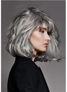 Salt and Pepper Hair Medium Bob Straight Synthetic Wig
