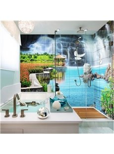 Decorative Waterfalls Natural Scenery Pattern Waterproof 3D Bathroom Wall Murals