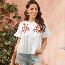 Embroidered Floral Flounce Sleeve Smock Top