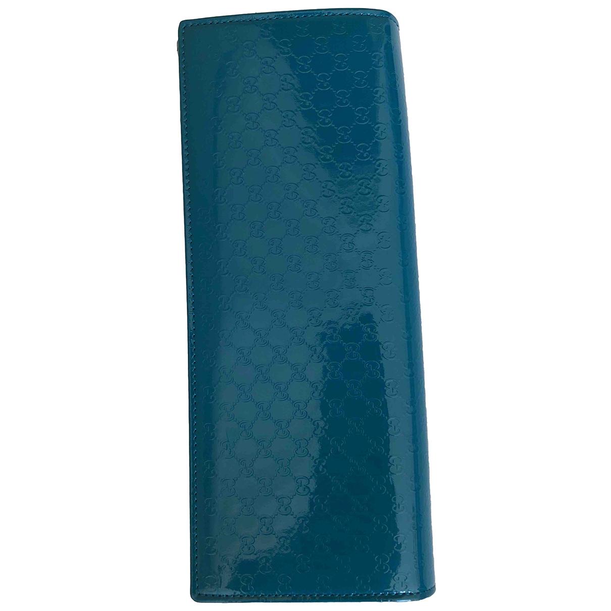 Gucci - Pochette   pour femme en cuir verni - turquoise