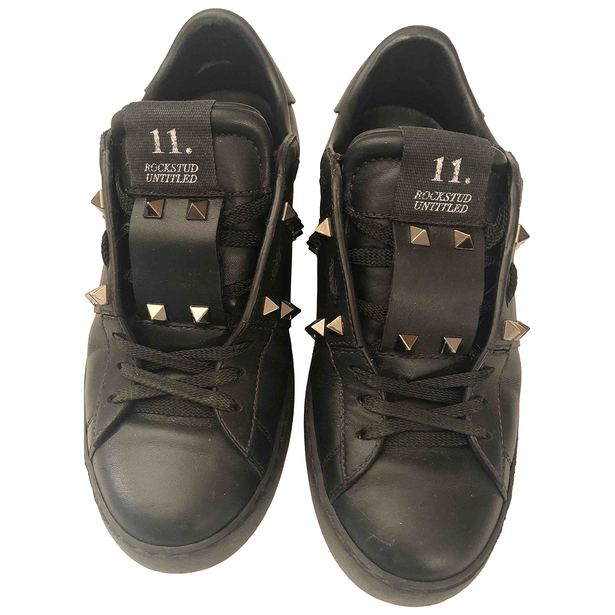 Valentino Garavani Rockstud Black Leather Trainers for Women 36.5 EU
